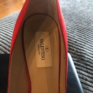"Valentino red satin heels, size 38, 5"" heel"